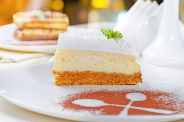 Slice of cheesecake with a biscuit base
