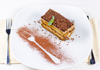 Slice of Chocolate Cake on Plate with Fork Outline