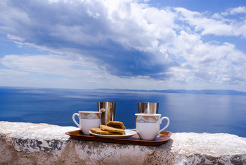 Ready to serve cup of traditional greek coffee