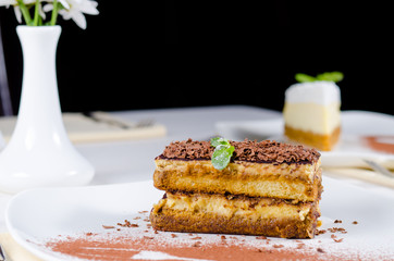 Gourmet Layered Cake on Plate with Cocoa Powder