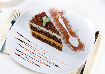 Delicious freshly baked layered dessert