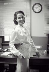 Cute vintage secretary at work
