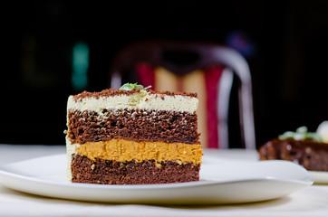 Large slice of fresh baked chocolate cake