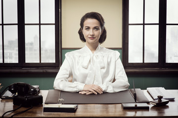 Attractive vintage business woman
