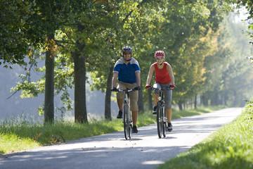 Deutschland, Bayern, Oberland, Paar Mountainbike