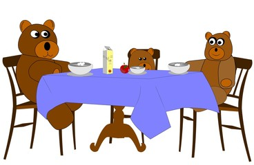 bear family having lunch
