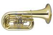 Leinwandbild Motiv Tuba auf weissem Hintergrund