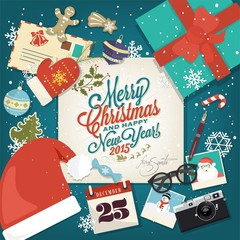 Merry Christmas And Happy New Year Background With Icon Elements
