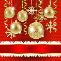 Christmas illustration with baubles on knitted background