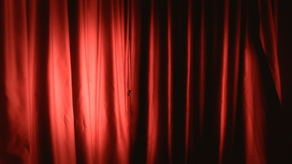Background establishing shot curtain red right