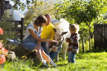Eltern sitzen mit Kind im Garten und spielen mit Pony