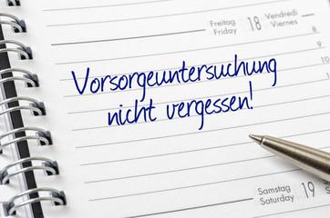 Terminkalender mit dem Eintrag Vorsorgeuntersuchung