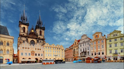 Old town square in Prague, Czech republic, Time lapse
