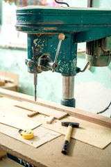Furniture production plant, factory with industrial drilling