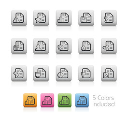 Documents Icons - 2 of 2 -- Outline Buttons