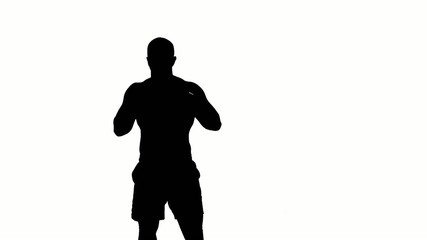 one caucasian man exercising boxing boxer  workout fitness in