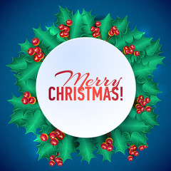 Vector Christmas Holly Garland Messages and Objects on Snowflake