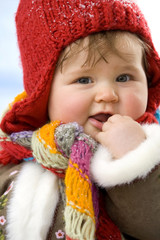 Baby Mädchen, tragen Mütze, close-up