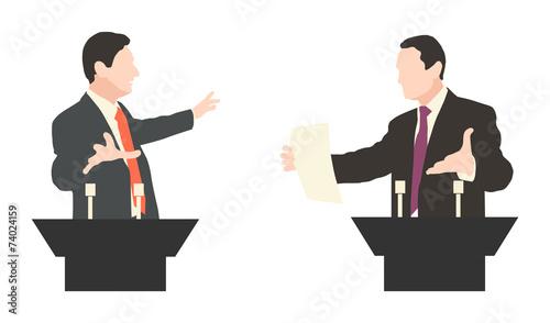 Debate two speakers. Political speeches debates - 74024159