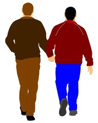 gay men walking hand in hand