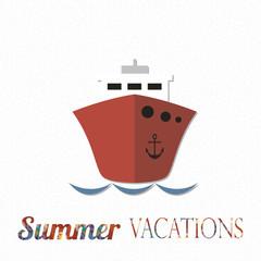 summer vacation illustration over color background