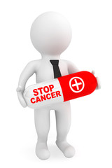 3d Person hold Pill with Stop Cancer sign