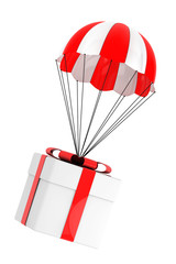 Gift Concept. Parachute with Gift Box