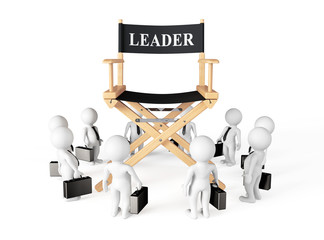 3d Businessmans Around Director Leader Chair