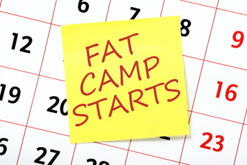 A reminder of Fat Camp Starting on a wall calendar