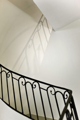 Stairs and handrail in a classic French house