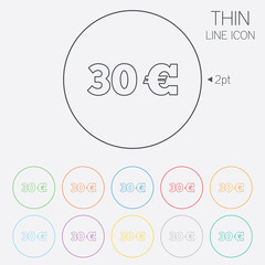 30 Euro sign icon. EUR currency symbol.