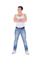 Young fashion man standing over white