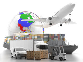 International goods transport with globe on background