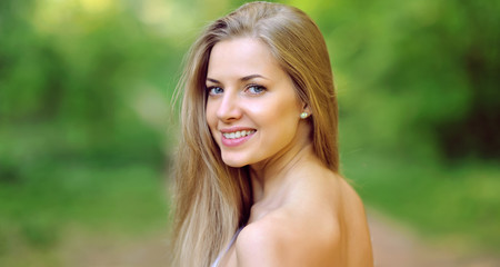 Beautiful woman face close up