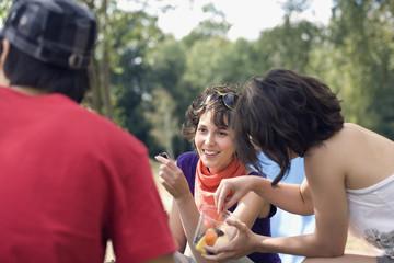 Deutschland, Leipzig, Ammelshainer See, Freunde, Picknick