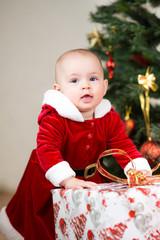 kid with big Christmas gift box