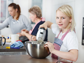 Family baking biscuits