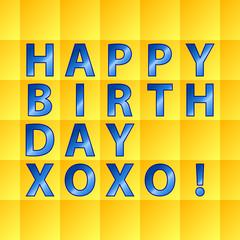 Birthday card-yellow squares