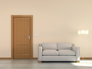 Empty interior scene with sofa and door