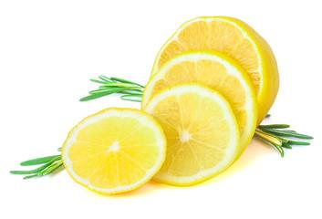 Fresh lemons with rosemary on White ground