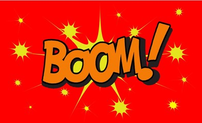 BOOM Comic book explosion sound effect, Comic Speech Bubble