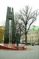 Vilnius city centre sculpture to Vincas Kudirka at autumn time