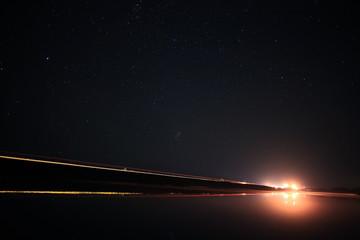 starry night sky landscape lake
