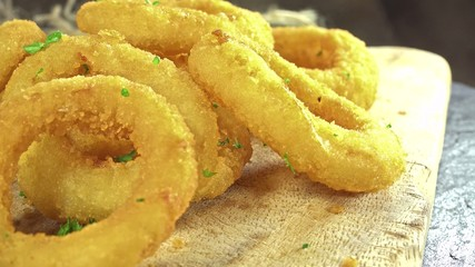 Onion Rings as seamless loopable 4K close-up footage