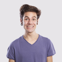 young man's funny face expression
