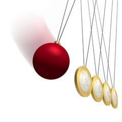 Euro-Pendel mit Weihnachtskugel