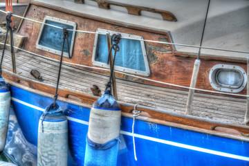 boat fenders in a wooden boat