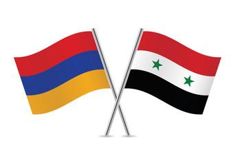 Syrian and Armenian flags. Vector illustration.