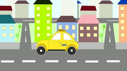 The yellow taxi rides around town, animation, cartoon