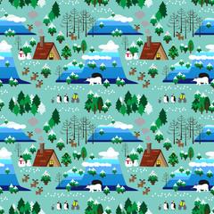 Christmas theme landscape seamless pattern